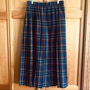 Susan Bristol Vintage Plaid Pleated Skirt Sz Large